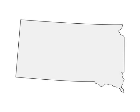 High detailed vector map. South Dakota USA state