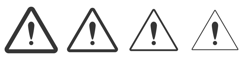Triangular warning symbols with Exclamation mark. Wall mural