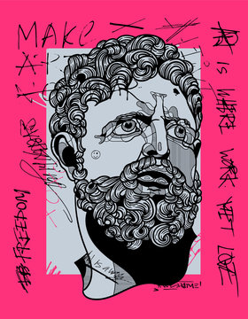 Hercules portrait sculpture. Crazy pink calligraphy