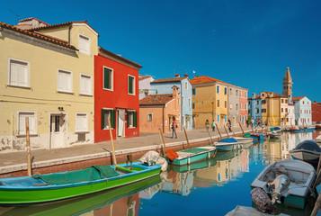 Fototapete - Idyllic landscape of Burano island, Venice, Italy.