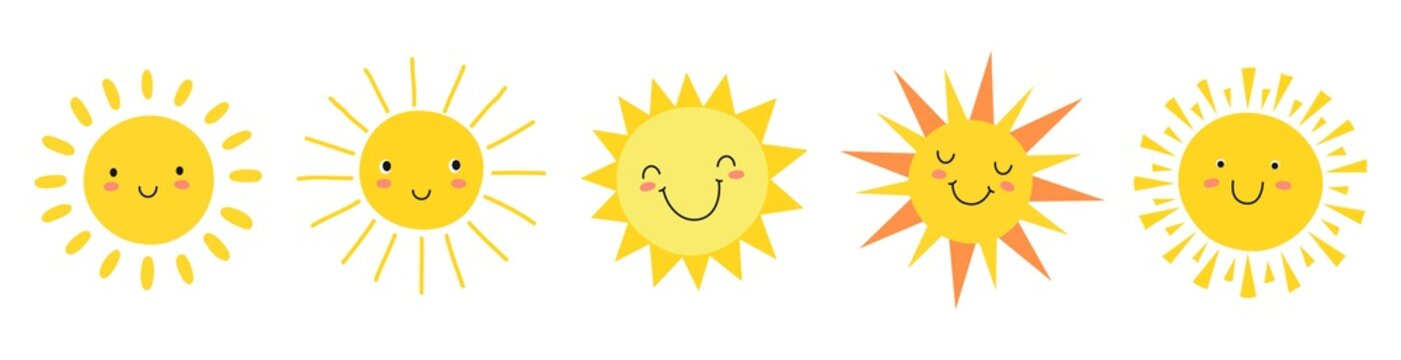 Cute suns. Sunshine emoji, cute smiling faces. Summer sunlight emoticons and morning sunny weather. Isolated funny smileys vector icons. Sunshine and sunny emoji, yellow face emoticon illustration