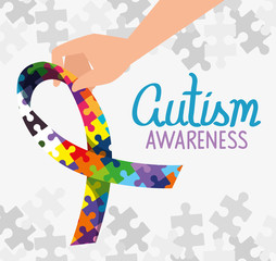 world autism day with ribbon of puzzle pieces vector illustration design