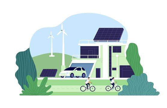 Alternative energy. Environmental city, solar energy. Bio resource elements, alternative smart renewable. Electro innovations vector concept. Illustration alternative eco energy, resource renewable