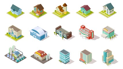 Isometric buildings. City urban infrastructure, residential, industrial and social buildings 3d vector set. Architecture residential building, house airport, infrastructure isometric illustration Fototapete