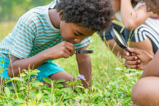 African American boy with friends in the grass exploring and looking nature with the magnifying glass.Education outdoor concept.
