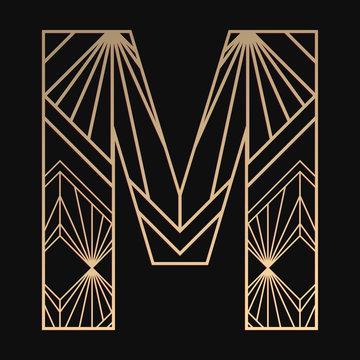 Laser cutting letter M. Art deco vector design. Plywood lasercut gift. Pattern for printing, engraving, paper cut. Luxury royal design.