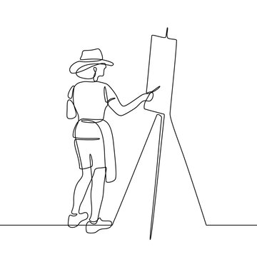 Painter in continuous line art drawing style. Artist painting picture black linear sketch isolated on white background. Vector illustration