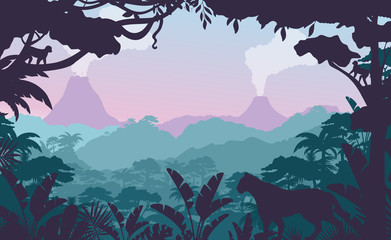 Tropical jungle flat vector illustration. Beautiful evening forest landscape, exotic flora and fauna. African rainforest view with wild cat silhouette and smoking volcanos on background. Fototapete