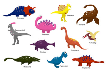 Cartoon multicolored dinosaurs with names. For children, wallpaper, decor, textiles, stickers, clothes, bedding, gift wrapping