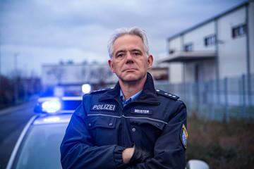 Polizist Hessen Streifenwagen Fototapete