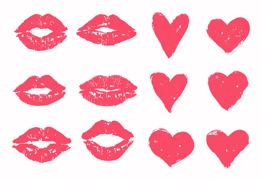 Trace of kiss set, heart vector pack. Pink, red hearts and lipstick imprint kisses. Valentine's day print, symbol, design, template.