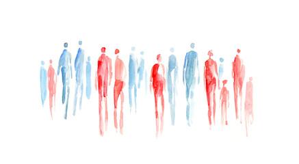 Obraz abstrakte Menschen, Menschengruppe, Gruppen, heterogen, durchwachsen, Sozialogie, soziale Durchmischung, Mann und Frau, Gender, Durchmischung, Toleranz, Inklusion, Integration - fototapety do salonu