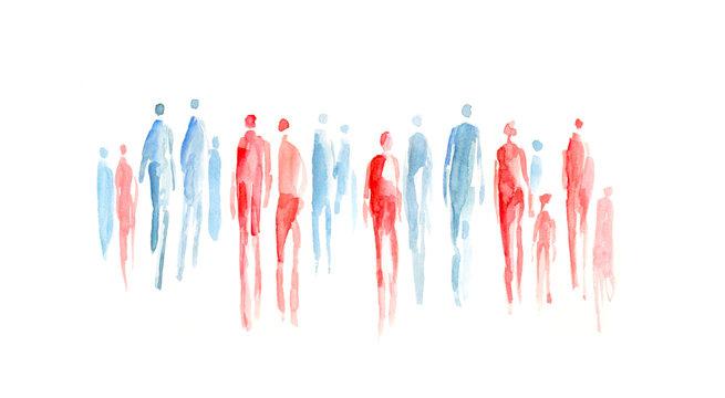 abstrakte Menschen, Menschengruppe, Gruppen, heterogen, durchwachsen, Sozialogie, soziale Durchmischung, Mann und Frau, Gender, Durchmischung, Toleranz, Inklusion, Integration