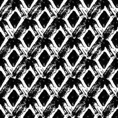 Vector seamless pattern with dry brush rhombuses/ Hand drawn texture/ Abstract background in black and white