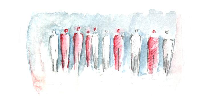 abstrakte Menschen, Menschengruppe mit roter Markierung, Kennzeichnung, heterogen, Soziologie, Gesellschaft mit Blick in die Zukunft, Ziele erreichen, Gegensätze, positiv vs negativ