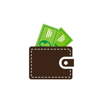 Money wallet icon isolated on white background.