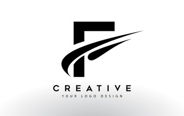 Creative F Letter Logo Design with Swoosh Icon Vector.