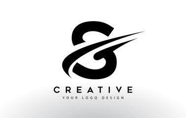 Creative S Letter Logo Design with Swoosh Icon Vector.