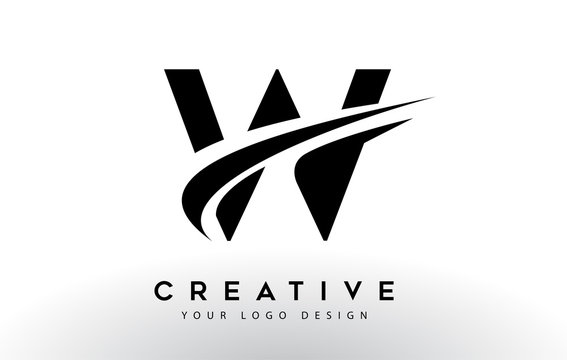 Creative W Letter Logo Design with Swoosh Icon Vector.