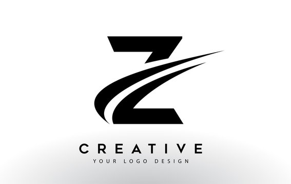 Creative Z Letter Logo Design with Swoosh Icon Vector.