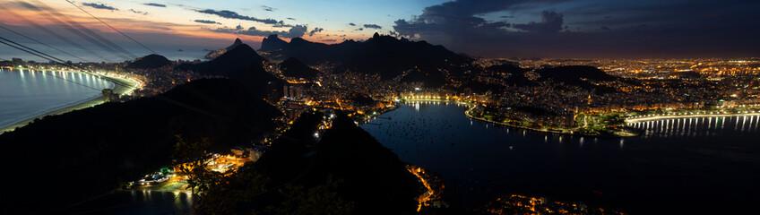 Night panorama of Rio de Janeiro city, Brazil