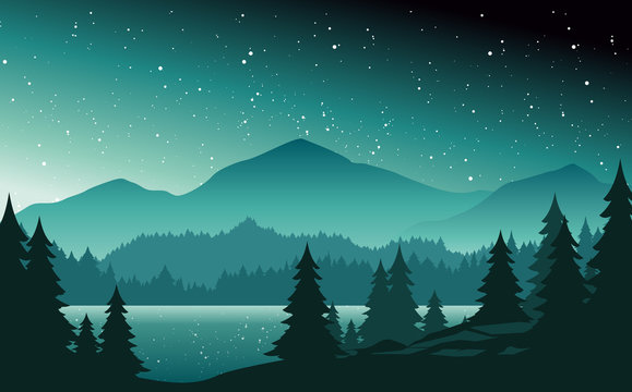 Mountains and lake at night landscape flat vector illustration. Nature scenery with fir trees and hill peaks silhouettes on horizon. Valley, river and starry sky scene cartoon background.