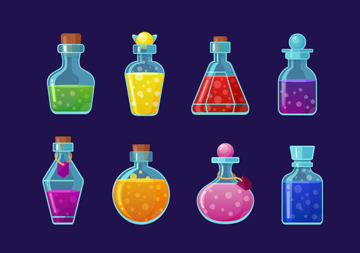 Potions vector cartoon illustrations set. Magic drinks, fairy elixirs, substance with bubbles, witch beverages. Corked glass flasks with color liquid collection isolated on blue background.