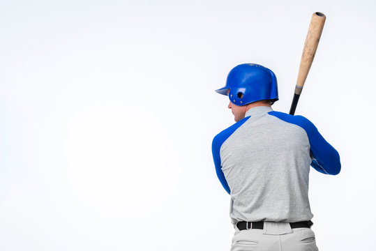 Back view of baseball player with copy space