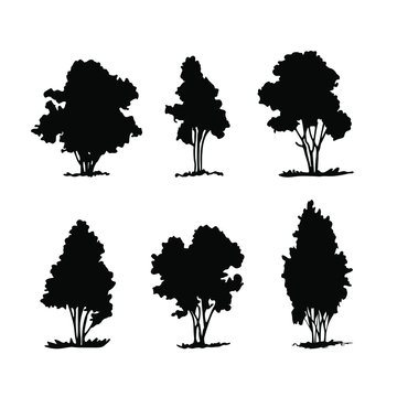 Set of silhouettes of shrubbery, hand drawn vector elements.