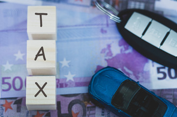 transport tax in the European Union, concept, tinted image, selective focus