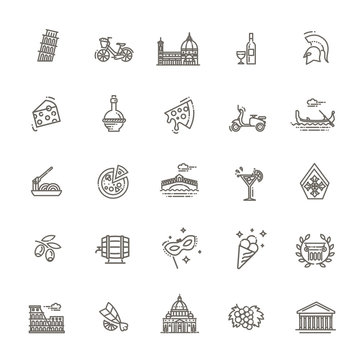Italy icons set. Tourism and attractions, thin line design. Symbols of the country