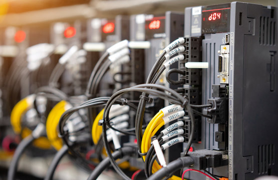 Automation concept: View of servo motor controller in control box of automation machine
