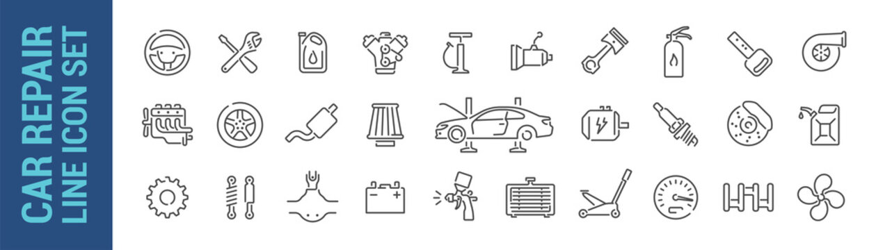 Car repair vector isolated line icon set. Mechanic tools & car parts