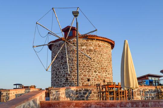 Windmill farm scene in summer