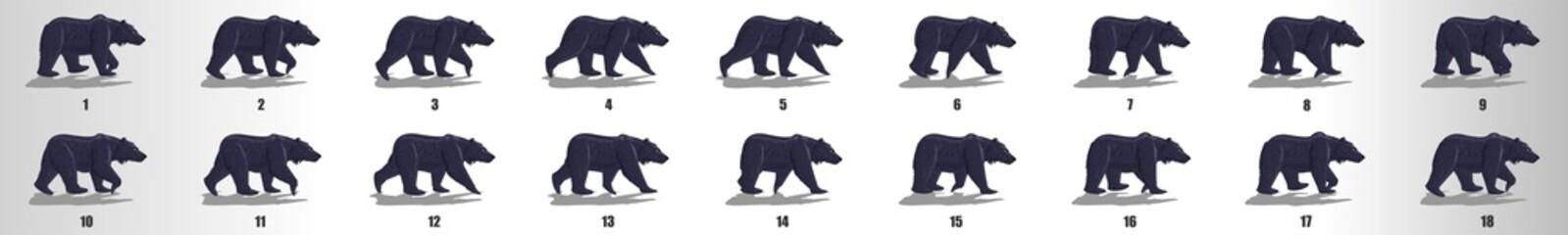 Fototapeta Bear Walk cycle animation frames, loop animation sequence sprite sheet
