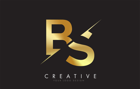BS B S Golden Letter Logo Design with a Creative Cut.