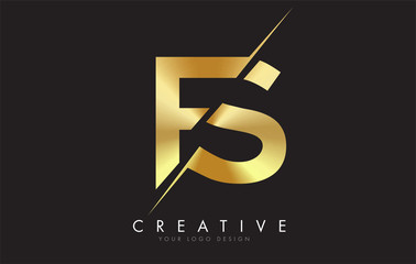 FS F S Golden Letter Logo Design with a Creative Cut.