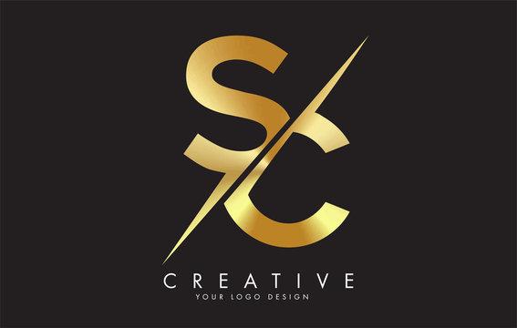 SC S C Golden Letter Logo Design with a Creative Cut.