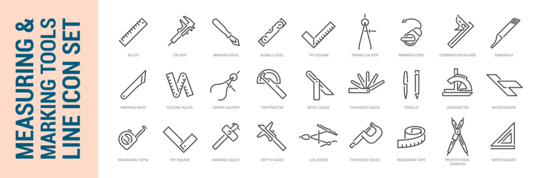 Measuring & marking tools. Vector isolated line icon set