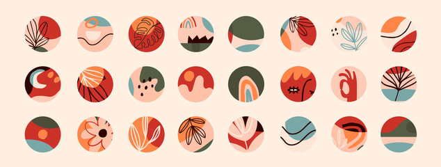 Big Set of various vector highlight covers. Abstract backgrounds. Various shapes, lines, spots, dots, doodle objects. Hand drawn templates. Round icons for social media stories. Perfect for bloggers Fototapete