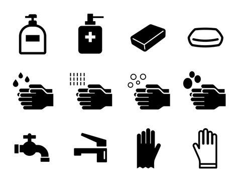 手洗い、ハンドソープ、石鹸、水道などの清潔アイコンセット