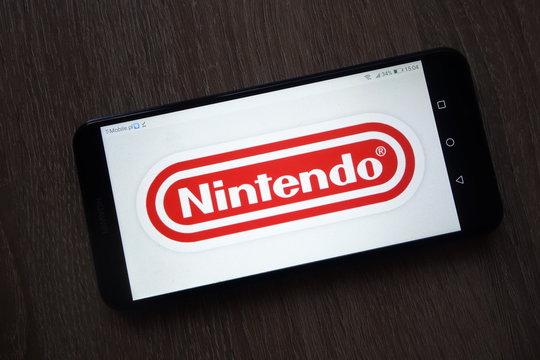 KONSKIE, POLAND - December 01, 2018: Nintendo logo displayed on smartphone