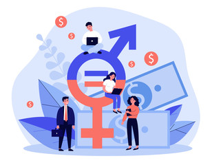 Fototapeta Employees gender salary equality. Business people with laptop working at cash and equal sign. Vector illustration for social respect, discrimination, diversity concept