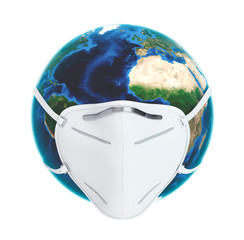 Planet Earth with Face Pollution Mask isolated on White Background. 3D illustration