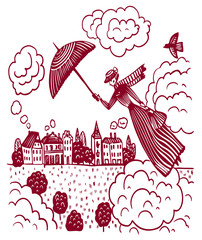 drawing picture of a lady in an English costume flying over a town and a forest across the sky with clouds, sketch, hand-drawn digital vector illustration