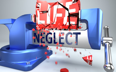 Neglect can ruin and destruct life - symbolized by word Neglect and a vice to show negative side of Neglect, 3d illustration Wall mural
