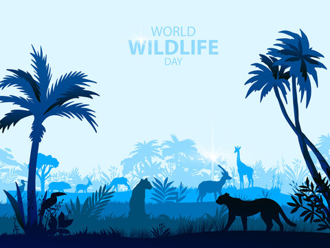 World wildlife day poster with palms, African animals, savannah landscape in mist. Exotic tropical background with cheetah, panther, giraffe, toucan outlines in trendy blue colors.