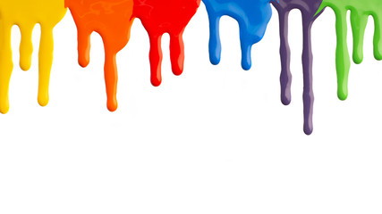 Advertisement of paint colors, colorful acrylic paint dripping