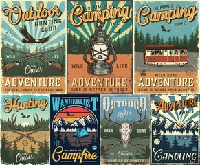 Vintage hunting and camping colorful posters