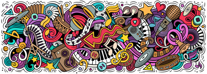 Fototapeta Music hand drawn cartoon doodles illustration. Colorful vector banner